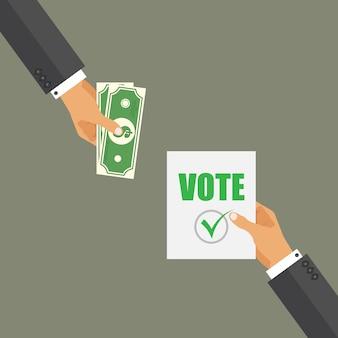Comprando o conceito de voto. corrupção no dia da eleição. candidato sujo.