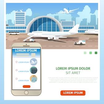 Comprando vetor de serviço on-line de bilhetes de avião