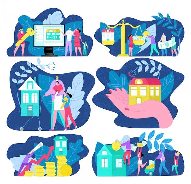 Comprar casa, comprar, vender e alugar um conjunto de ilustrações. venda de casa, investimento em negócio imobiliário, corretor de imóveis com chave para prédio novo, compra de casa familiar.