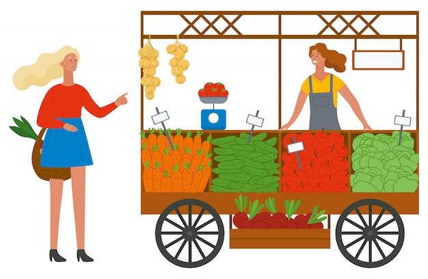 Comprar legumes e frutas em um mercado