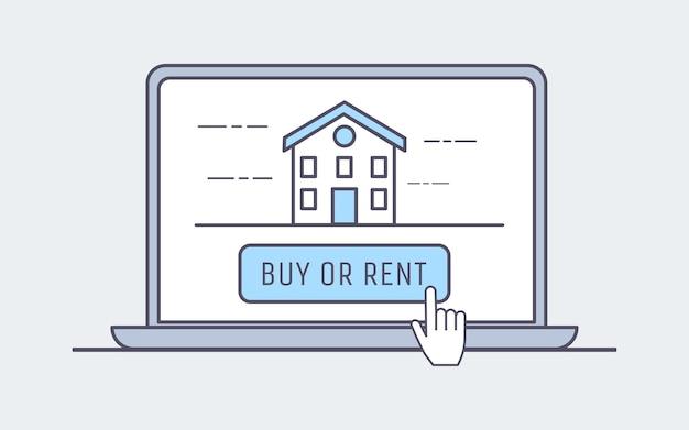Comprar ou alugar casa na ilustração internet