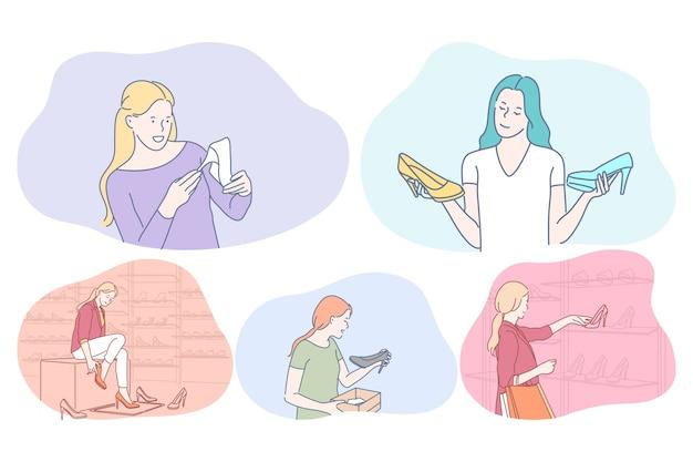 Compras, calçados, sapatos, moda, roupas, conceito de cliente. desenho animado de mulheres jovens positivas