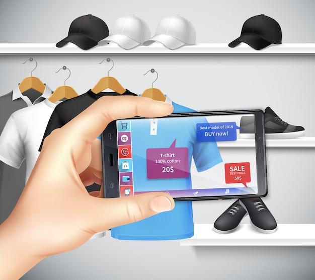 Compras com aplicativos de realidade virtual e aumentada, composição realista, segurando a mão do smartphone, escolhendo roupas esportivas
