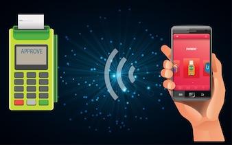 Compras com um smartphone em vez de dinheiro com ncf