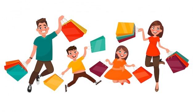 Compras de família feliz. mãe, pai, filho e filha estão pulando segurando pacotes com compras.