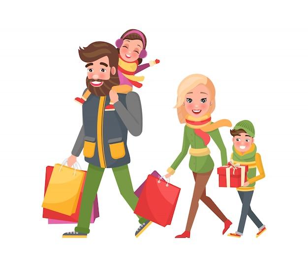Compras de férias de natal, família feliz junto