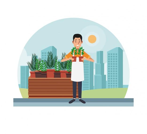 Compras de jardinagem na cidade