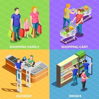 Compras de pessoas isométricas
