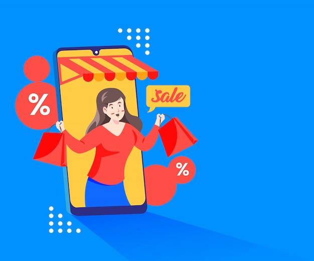 Compras de promoções de desconto online com um smartphone e megafone