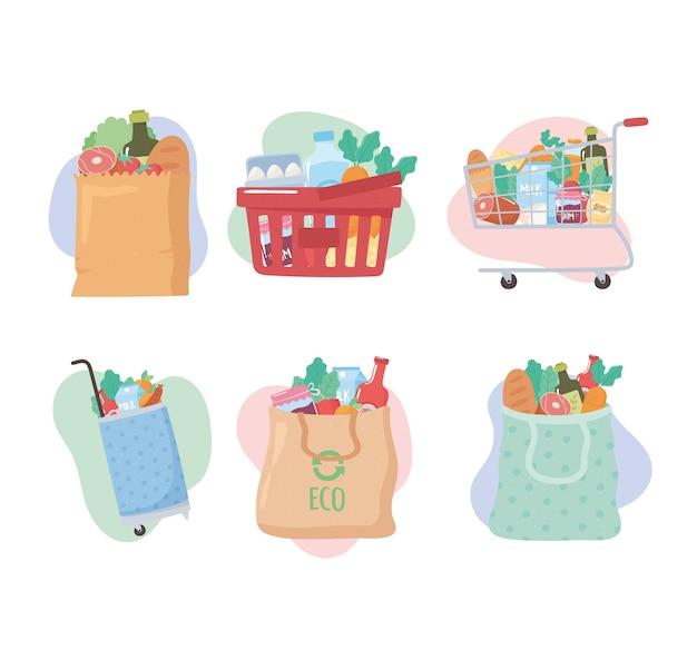 Compras de supermercado, conjunto de ícones com cesta, carrinho, sacolas com comida