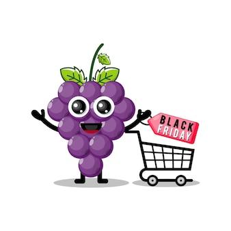 Compras de vinho preto sexta-feira mascote fofa personagem