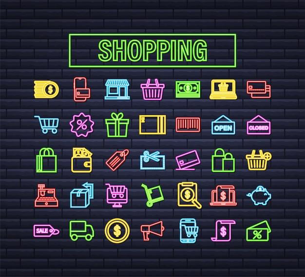 Compras definir ícone de néon para web design. comércio eletrônico. cupom de desconto. ícone de negócios. etiqueta de preço. vetor de linha. ilustração em vetor das ações.