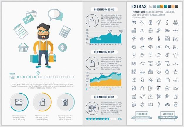 Compras design plano infográfico modelo e conjunto de ícones