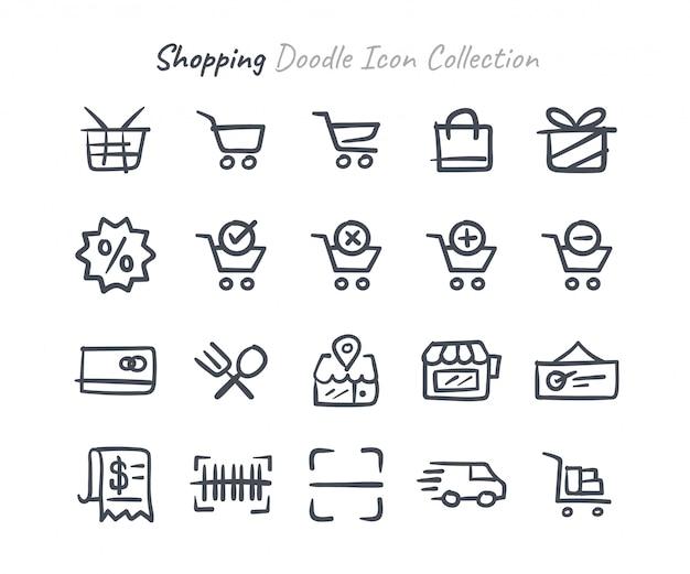 Compras doodle coleção de ícone