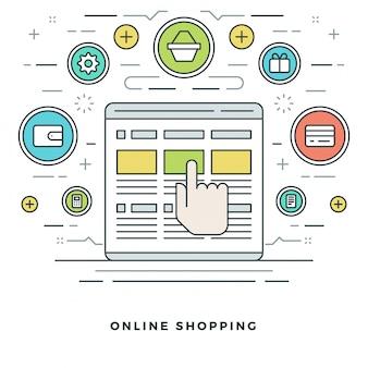 Compras e e-commerce e design de ícones de estilo de linha.