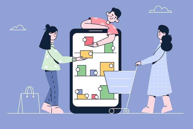 Compras e pedidos online na ilustração da internet