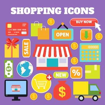 Compras elementos decorativos conjunto com sacos de dinheiro de cartão de plástico isolado ilustração vetorial