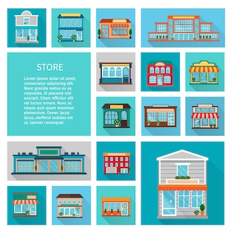 Compras em edifícios de lojas com grandes janelas e ícones de árvores definir sombra plana