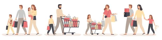 Compras em família. os pais compram presentes para crianças felizes, jovem casal com filhos na loja e venda da família.