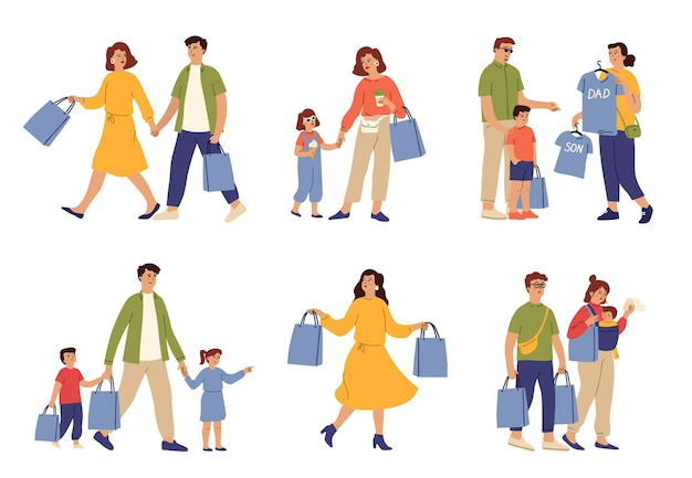 Compras em família. saco de comida de mulher, casal correndo para fazer compras. mamãe carrega sacolas, pais compram roupas para crianças. clientes em caráter de vetor de shopping. feminino e masculino, pessoa comprador faz ilustração de compras