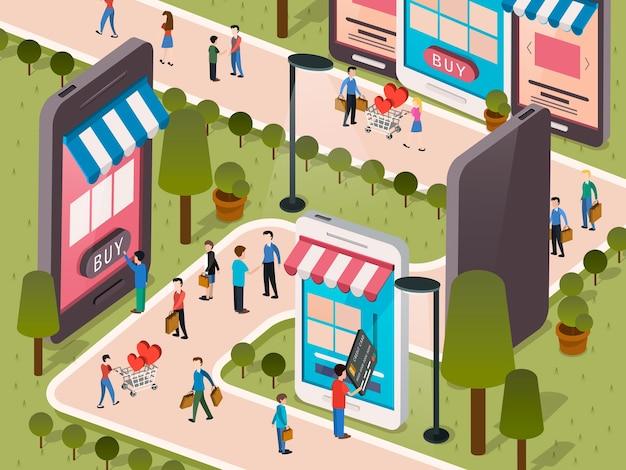 Compras em qualquer lugar através do seu telefone celular em design plano 3d isométrico