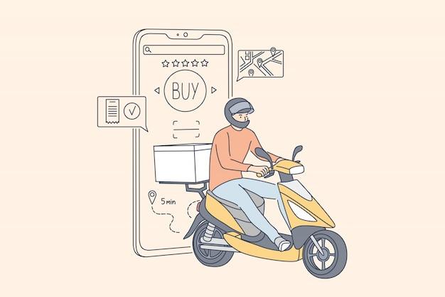 Compras, entrega rápida, marketing digital, coronavírus, conceito de ficar em casa