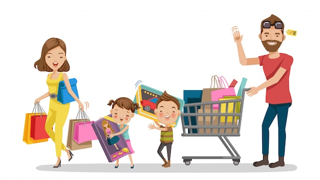 Compras. família de compras em férias.