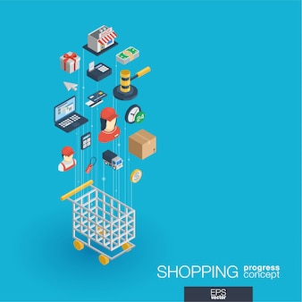 Compras ícones web integrados. conceito de progresso isométrico de rede digital. sistema de crescimento de linha gráfica conectada. abstrato para comércio eletrônico, mercado e vendas on-line. infograph