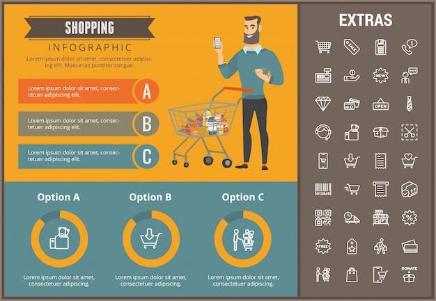 Compras infográfico modelo, elementos e ícones