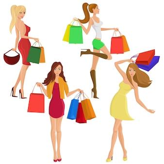 Compras menina jovem feminina figuras femininas com venda saco de moda isolado ilustração vetorial