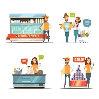 Compras na coleção de ícones retrô dos desenhos animados de supermercado com racks de produtos lácteos carrinho de supermercado