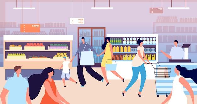 Compras na mercearia. cliente no supermercado, mãe criança compra alimentos saudáveis. pessoas da família com cesta, ilustração vetorial de loja de vegetais. supermercado com cliente caminhando com carrinho