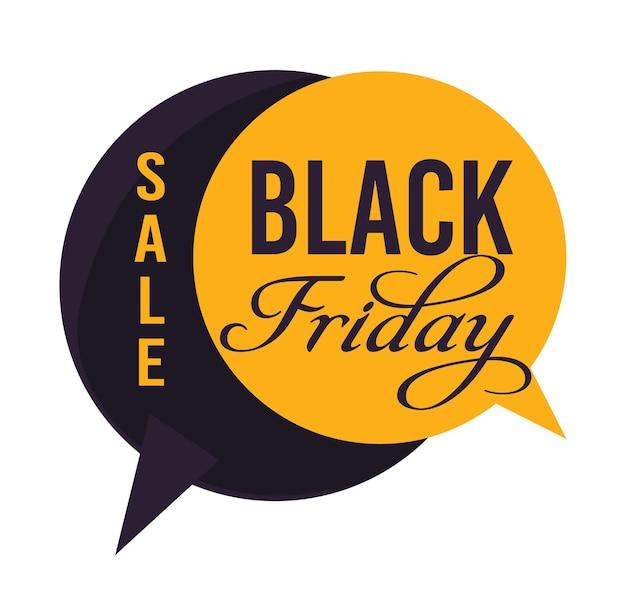 Compras na sexta-feira negra usando vendas e descontos, banner isolado em forma de caixas de bate-papo. publicidade de lojas e lojas, redução de preço e redução de folga, vetor em estilo plano Vetor Premium