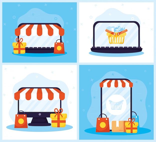 Compras na tecnologia de linha com conjunto de ícones
