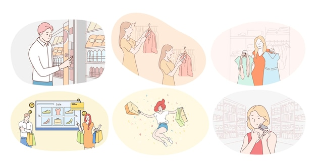 Compras no centro comercial ou supermercado e conceito de vendas. mulheres e homens felizes com personagens de desenhos animados comprando em supermercados ou butiques de roupas e pagando com cartão pela compra