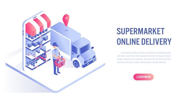 Compras no supermercado conceito on-line. apelo à ação ou modelo de banner da web