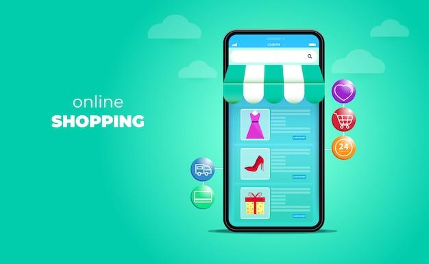 Compras on-line 3d em sites ou conceitos de aplicativos móveis