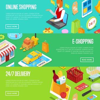 Compras on-line 3d isométrica banner web conjunto