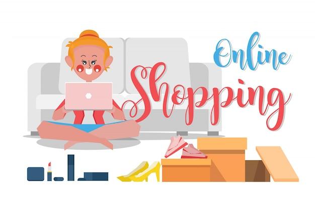 Compras on-line, as mulheres estão encomendando produtos on-line a partir do site, estilo plano de design de desenho animado
