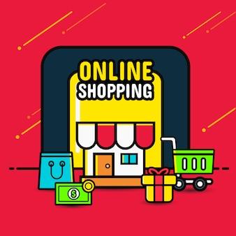 Compras on-line banner conceito móvel