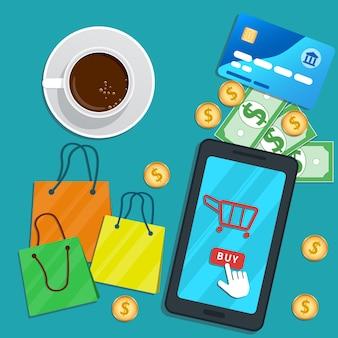 Compras on-line com aplicativo para celular. smartphone plano com ícone de carrinho, comprar botão na tela