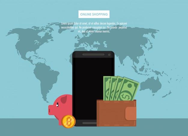 Compras on-line com bitcoins do smartphone