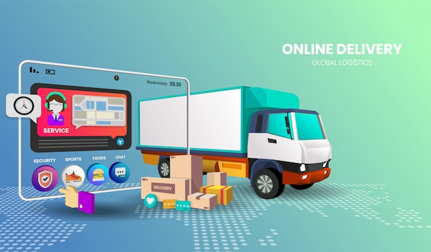 Compras on-line com caminhão para banner