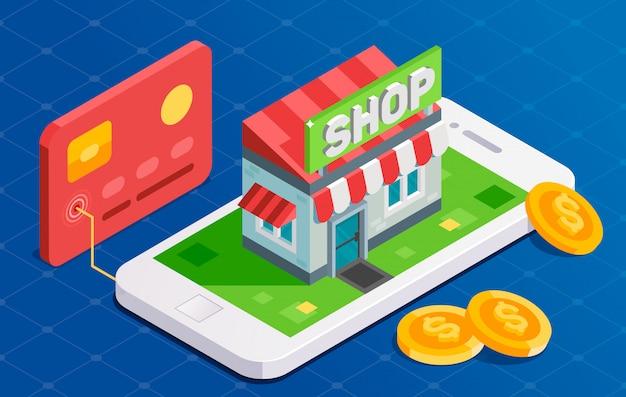 Compras on-line com cartão de crédito. ilustração isométrica