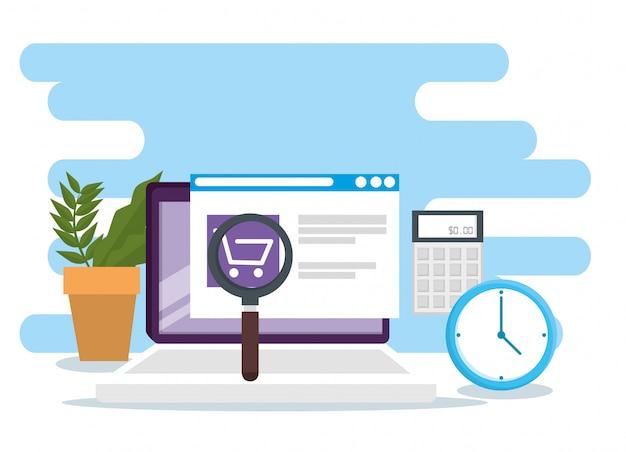 Compras on-line com comércio eletrônico no mercado de vendas