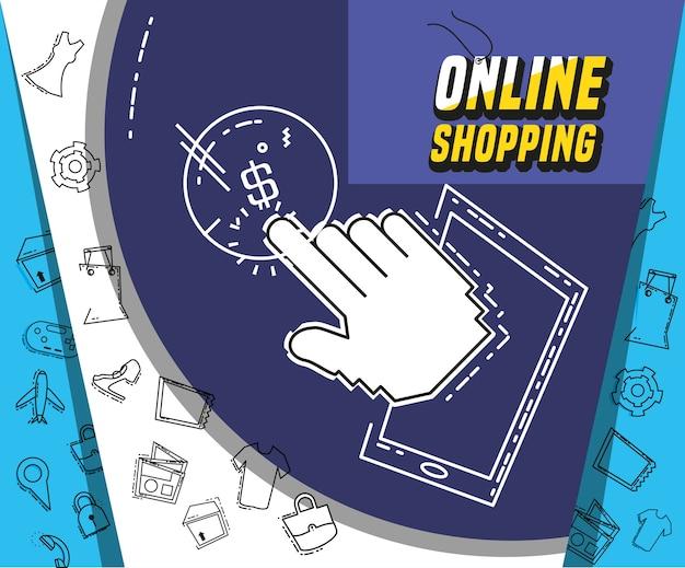 Compras on-line com design de ilustração vetorial de smartphone