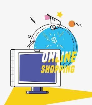 Compras on-line com estilo de pop art de computador de exibição