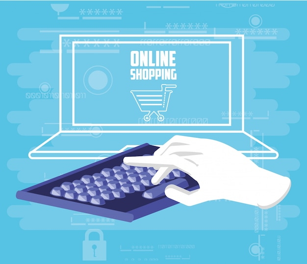 Compras on-line com laptop