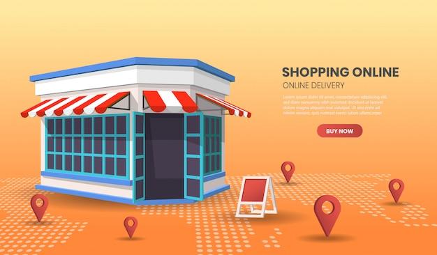 Compras on-line com loja de varejo. conceito de smartphone de loja online adequado para aplicação de banner