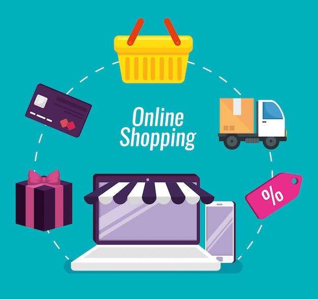 Compras on-line com tecnologia de laptop e smartphone